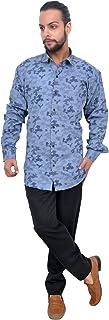 The Mods Men's Casual Blue Print Color Shirt