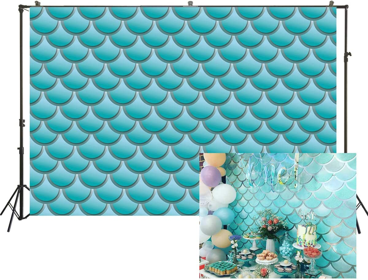 Muzi 7x5ft Blue Little Mermaid Scales Backdrop for Photography Under Sea Theme Background Baby Shower Girl Boy Birthday Party Photoshoot Supplies Photo Banner Decor W-2255