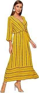 Fashring Women's Short Sleeve Long V Neck Argyle Print High Waist Summer A Line Maxi Dress