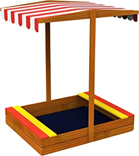 TOYSTER'S Wooden Sandbox with Roof | Colorful Backyard Sand Box for Kids | Fun Sandpit is a Great Way for Children to Develop Fine Motor Skills | Outdoor Toy Playset is Easy to Assemble