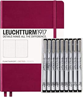 Leuchturm1917 Dotted Journal Medium A5 Bullet Notebook with 9 Pack Black Fineliner Fine Tip and Brush Journaling Pens Set (Dotted, Port Red)