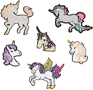 6 Pack Sequined Unicorn Iron on Patch DIY Sew on Applique for Jacket Backpack, Unicorn, One Size