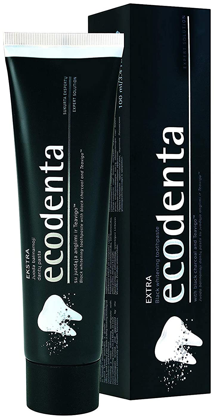 パステル太平洋諸島苦難[(ECODENTA) ECODENTA] [ EKSTRA black whitening toothpaste with black charcoal and Teavigo, 100 ml(Pack of 2)] (並行輸入品)