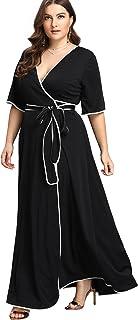 Romwe Women's V Neck Wrap Dress with Belt Cute Maxi Dress