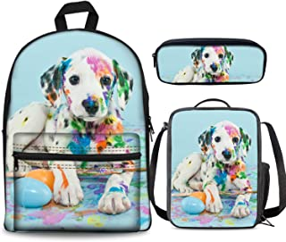 PrelerDIY Naughty Painting Dog Backpack Set 3 Piece 17 Inch Plus Book Bag Lunch Box Pencil Case for Boys Girls 1-6th Grade Kids Back to School
