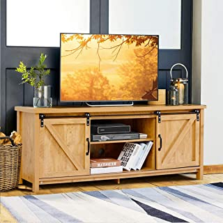 "Tangkula TV Stand for 60"" Television, TV Ark with Sliding Barn Doors, Wooden TV Cabinet with 2 Center Compartments and 2 Cabinets, Console Storage Table with Cabinet, Natural Design (Golden Oak)"