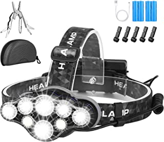 Head Torch,Super Bright Headlight,18000 Lumens 8 LED 8 Modes Headlamp,Rechargeable Waterproof with Red Flash Light Head To...