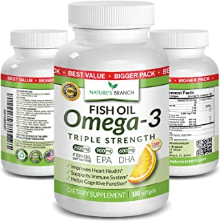 Best Triple Strength Omega 3 Fish Oil Pills - 180 Capsules - 2500mg High Potency Burpless Lemon Flavor 900m...