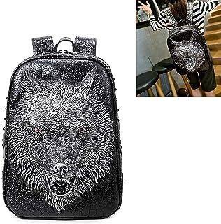 3D Stereo Print Animal Wolf Head Backpack,Retro PU Leather Rivet Punk Rock Bag Casual Travel Laptop Fashion Bookbag,Silver
