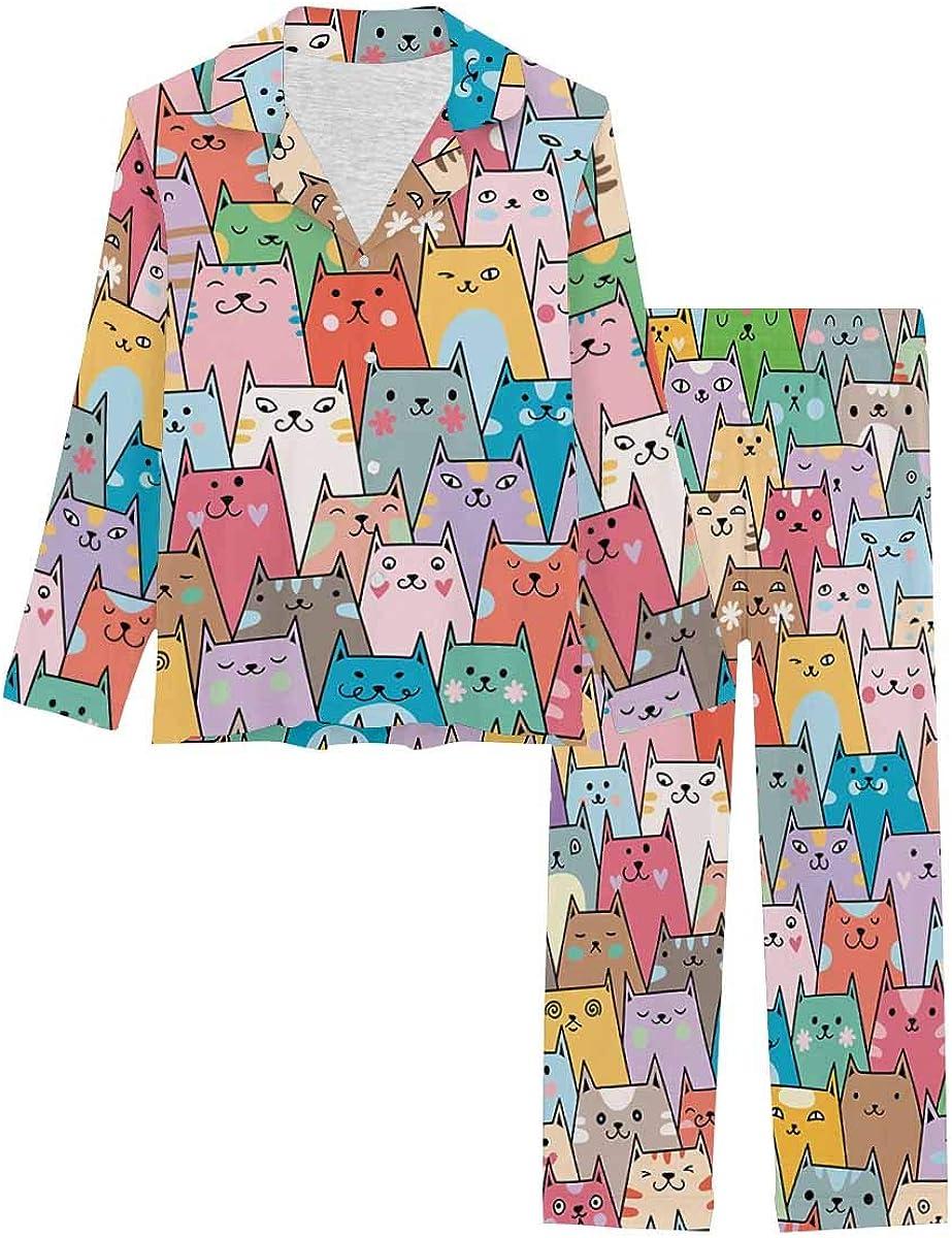 InterestPrint Long Sleeve Nightwear Button Down Loungewear for Women Plenty of Cute Colorful Cats