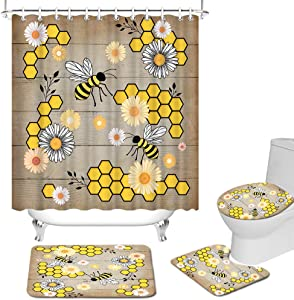 RyounoArt 4 Pcs Yellow Shower Curtain Sets Bee Honeycomb Decor Non-Slip Bathroom Rug Toilet Lid Cover and U-Shaped Contour Mat Waterproof Durable White Daisy Shower Curtain