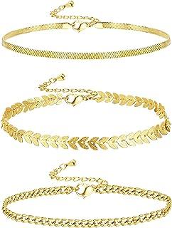 Udalyn Tobillera de oro de 14 quilates de 3 a 4 piezas Pca para mujer, conjunto simple Figaro/Cubano/Paperclip Link, pulse...