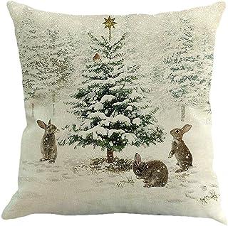 Fossrn Navidad Fundas Cojines 45x45 Patrón de Ciervo/Conejo/Escena de Nieve Decoracion Hogar Casa Sofa Jardin Cama
