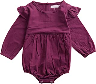 Weixinbuy Baby Girls' Toddler Solid Ruffles Long Sleeve Romper Clothes Outfit
