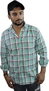 Spanish One Look Mens Long Sleeve 100% Cotton Regular Fit Button Down Casual Shirts Dress in Light Blue Printed Check Shirt for Men