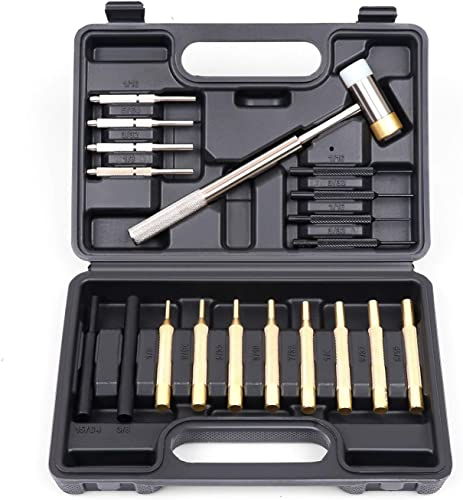 high quality HORUSDY 19-Pieces wholesale Gunsmith Punch Set and Hammer with Brass, Hollow, Steel, Plastic Punches, high quality Brass Punch for Gunsmithing Maintenance. sale