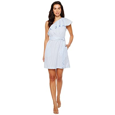 Donna Morgan One Shoulder Mini Dress w/ Self Belt (Oxford Blue/White) Women