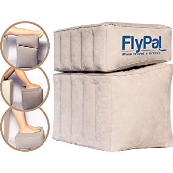 """Flypal Inflatable Foot Rest for Travel, Home and Office and Blow-Up Pillow Cushion for Kids to Sleep on Long Flights, 17""""x11""""x17"""", Grey"""