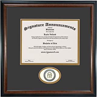 Signature Announcements University of West Georgia (UWG) Undergraduate and Graduate Graduation Diploma Frame with Sculpted Foil Seal (Matte Mahogany, 16 x 16)
