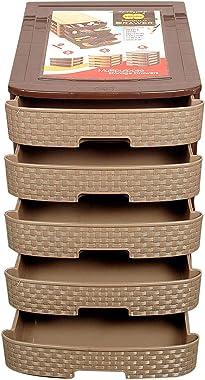 Amigos Store™ Multipurpose Modulo Plastic Drawer Organizer Storage Box -5 Layers (35 L*27 W*35 H cm, Brown)