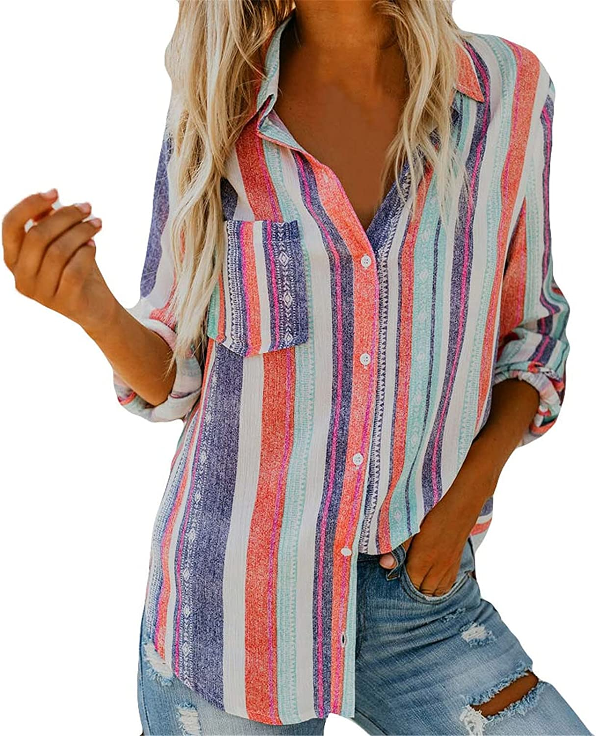 Womens Long Sleeve T Shirts Ranking TOP8 - New sales Fashion 2021 Button Clas Tops Down
