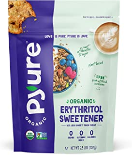 Organic Erythritol Granulated Sweetener by Pyure, 0 Calorie, 0 Net Carbs, non-GMO, 2.5 Pound (40 Ounces)
