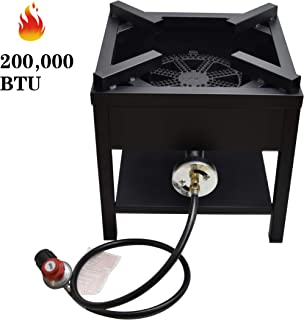 ARC USA, 200,000 BTU Outdoor High Pressure Cast Iron Propane Burner, Single Gas Cooking Camping Stove, Adjustable 0-20 PSI CSA Regulator & Hose, Great for Home Brewing, Turkey Fry, Maple Syrup Prep