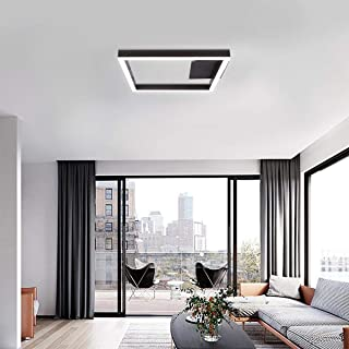 CHYING Modern Square LED Ceiling Light, Flush Mount Ceiling Chandelier Lights Fixture 15.76 in 24W 6500K Cool White 80Ra+ with 190Pcs LED Chips Without Flicker for Living Room, Hallway, Bedroom, Foyer