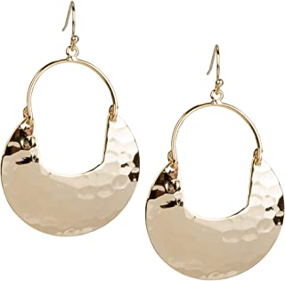 Crescent Hammered Silver Earrings in Gold or Silver for Women