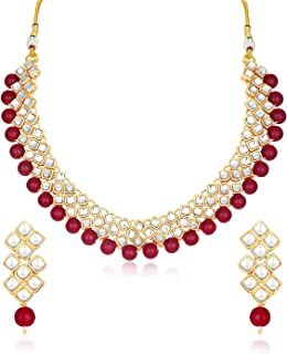 Sukkhi Gold Plated Kundan Pearl Fancy Choker Necklace Set Traditional Jewellery Set with Earrings for Women & Girls (N73524)