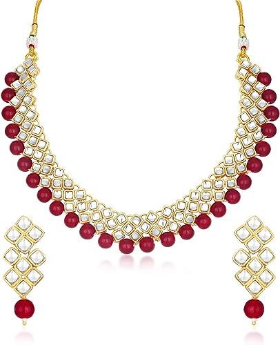 Exotic Kundan Gold Plated Wedding Jewellery Choker Necklace Set for Women N73524