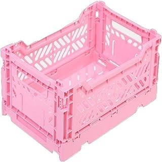 AYKASA Collapsible Storage Bin Container Basket Tote, Folding Basket Crate Container : Storage, Kitchen, Houseware Utility Basket Tote Crate Mini-Box (Baby Pink)