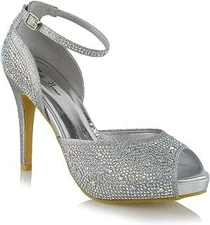 ESSEX GLAM Women Pumps Peep Toe High Heel Platform Rhinestones Evening Wedding Ankle Strap Shoes