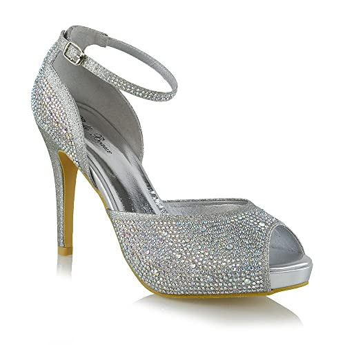 3d6794422 ESSEX GLAM Womens Peep Toe Heels Rhinestone Bridal High Heel Ankle Strap Pump  Shoes