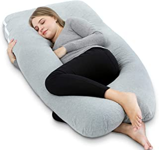AngQi 55 inch Full Pregnancy Pillow, U Shaped Maternity Body Pillow for Pregnant Women and Baby, with Easy on-off Jersey Cover, Gray