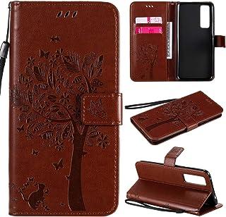 携帯ケース Huawei Nova 7 Tree&Catエンボスパターンホリゾンタルフリップレザーケース、ホルダー&カードスロット&ウォレット&ストラップ付き