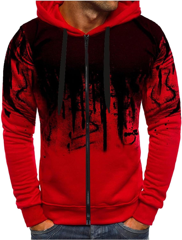 HONGJ Zipper Hoodies for Mens, Fall Men's Ink-Splash Printed Long Sleeve Hooded Sweatshirts Drawstring Casual Jackets