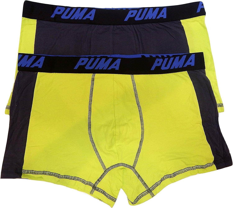 PUMA 2 Pack Men's Cotton Color Block Underwear Trunks Boxer Briefs Cotton Stretch (Large 36-38, Yellow - Blue Logo)