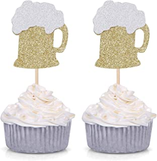 24 CT Gold Glitter Beer Mug Cupcake Toppers Wedding Luau Bachelorette Celebrating Party Decors