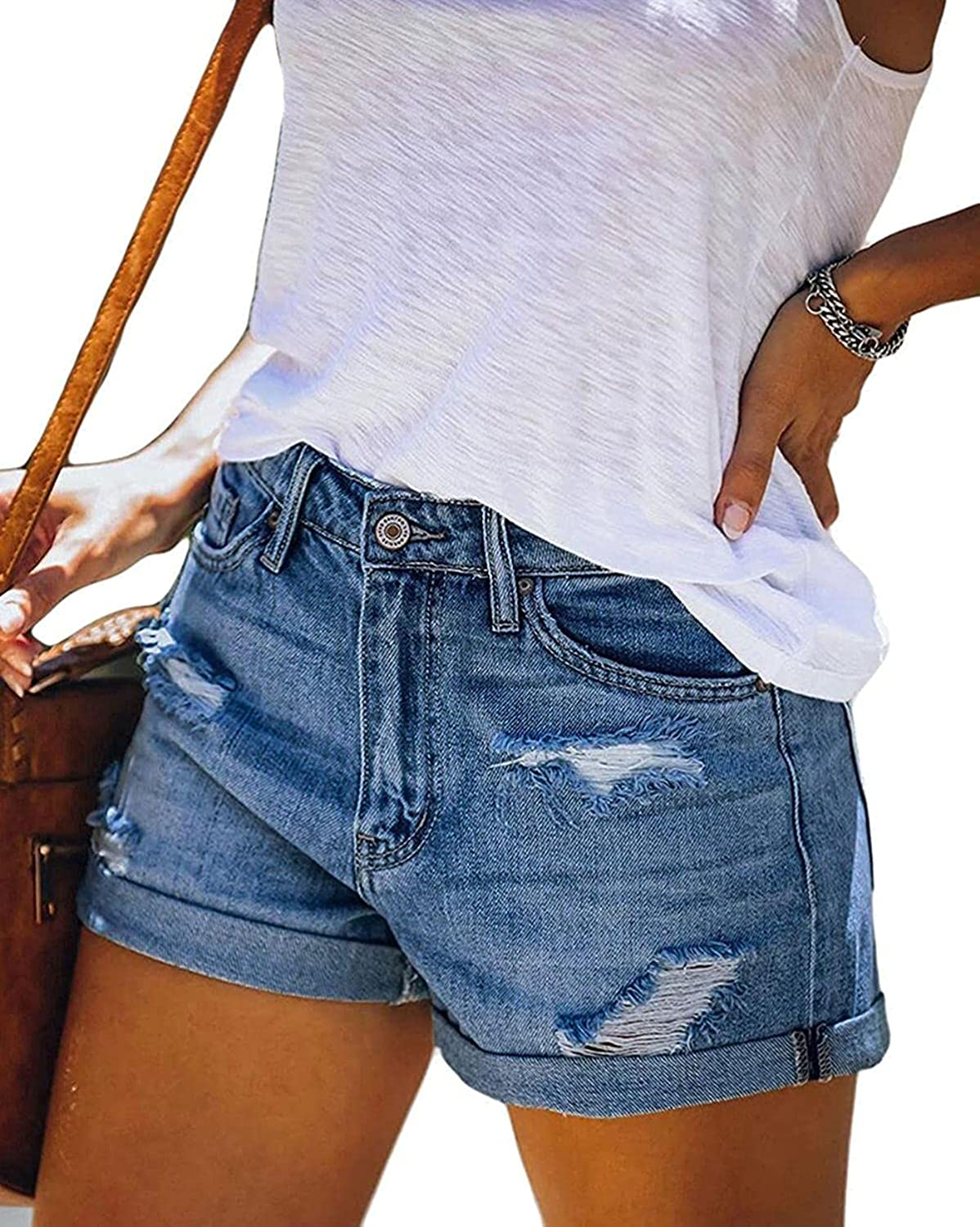 HFStorry Women's Casual Stretch Mid Rise Distressed Ripped Roll Up Denim Jean Shorts with Pockets Light Blue