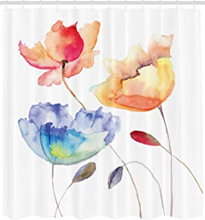 """Ambesonne Watercolor Flower Shower Curtain, Summer Flowers in Retro Style Painting Effect Nature is Art, Cloth Fabric Bathroom Decor Set with Hooks, 84"""" Extra Long, Pink Yellow"""