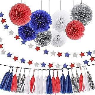 HEARTFEEL 30pcs Patriotic Tissue Paper Pom Pom Silver Navy Blue Red White Tassel Garland Party Decorations (Navy Blue Red Silver White)