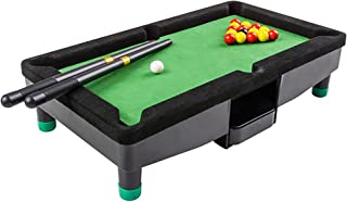 9 Inch Travel Mini Pool Table for Kids by Gamie with 2 Sticks, 16 Balls and Rack - Complete Small Pool Table Set for Children - Great Gift Idea for Boys and Girls, Unique Office Desk Decoration