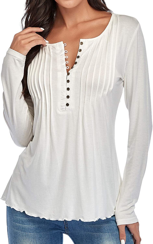 Dilgul Damen Langarm T Shirts Tops Casual Langarmshirts Tunika Knopfen Oberteile Bluse