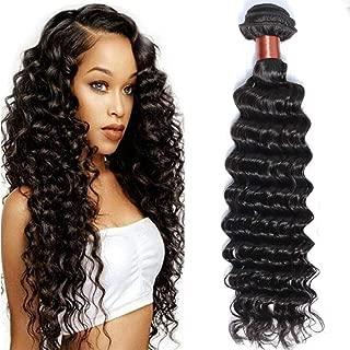 Angie Queen Unprocessed Brazilian Virgin Hair Deep Wave 16 Inch One Bundle Virgin Human Hair Weave Extension Natural Black Color (100+/-5g)/pc (One Bundle)