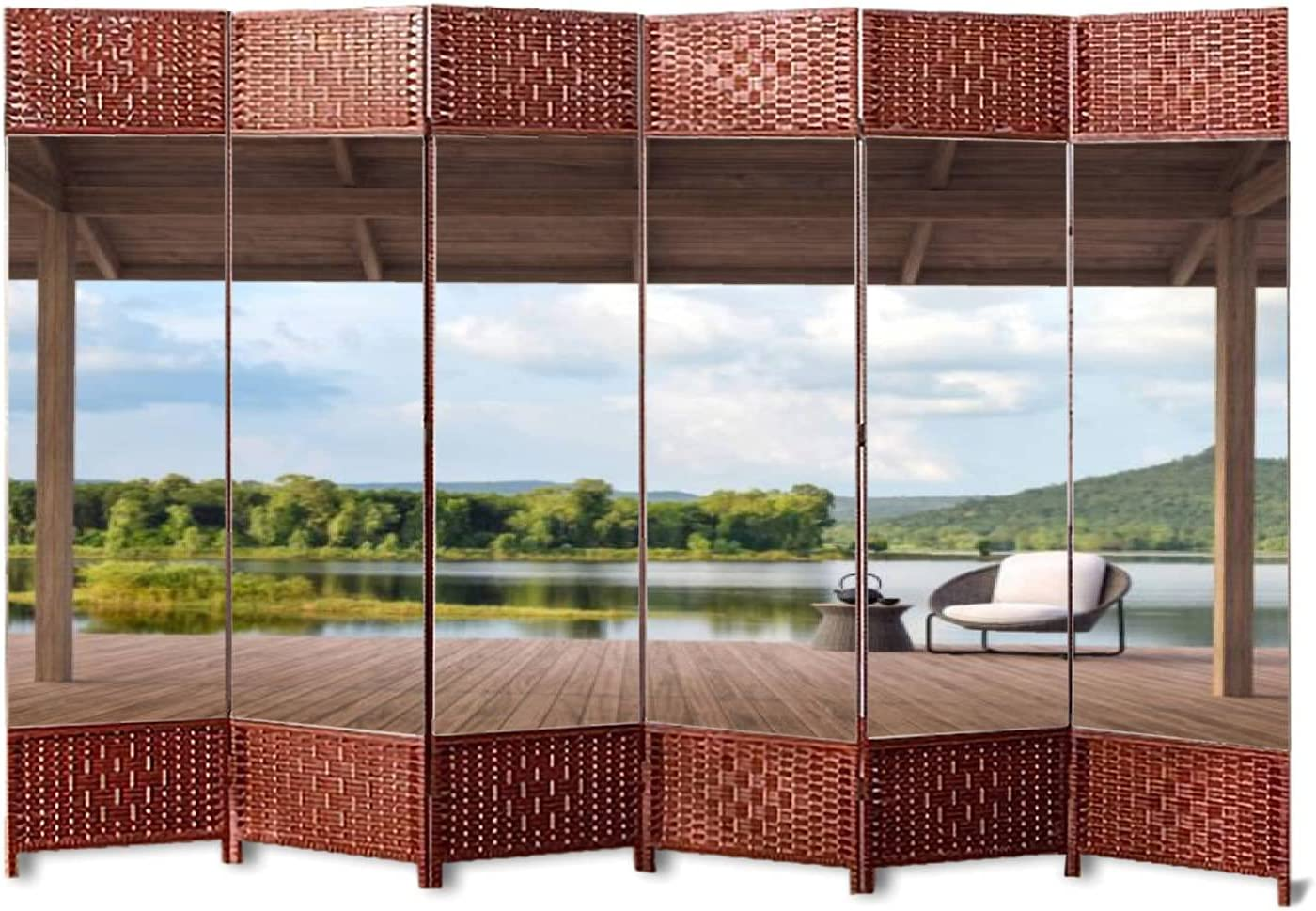 6 Panels Super intense SALE Weave Folding Room Safety and trust Divider Terrace Wood with Beautiful