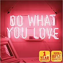Neon Signs, Pink Do What You Love Neon Lights, Neon Light Sign Led Neon Lamp, Wall Sign Art Decorative Signs Lights, Neon Words for Home Bedroom Room Decor Bar for Party Holiday Decoration Signs