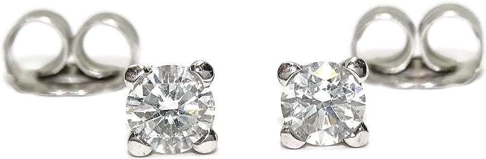 Never say never orecchini da donna in oro bianco 18 k, con 2 diamanti da 0,6 ct ciascuno 077525111