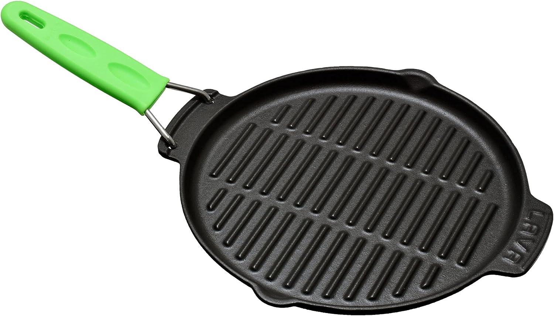 LAVA - Sartén grill de hierro fundido (23 cm, mango de metal con cubierta de silicona)