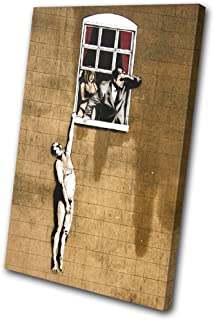 Bold Bloc Design - Banksy Street Window Lovers - 135x90cm Canvas Art Print Box Framed Picture Wall Hanging - Hand Made In The UK - Framed And Ready To Hang